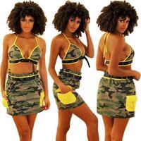 moda camuflagem dois pedaço conjunto mulher verão roupas sexy sutiã top + saia curta terno casual vestido roupas praia lazer g40y55