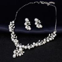 Ensembles de bijoux de perles pour femmes Perles africaines Ensemble de mariage Crystal Crystal Collier Bijoux Costume Boucles d'oreilles