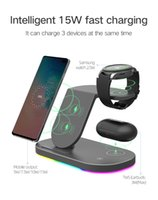 3 in 1 Wireless Chargers Stand 15W Fast Charging for Samsung Galaxy S21 S20 S10 S9 Watch 3 Gear S3 LTE BT Active 2 Buds Pro Live