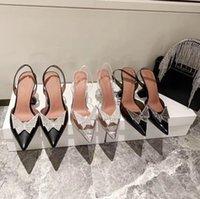 2021 Verkauf-offizielle Qualität Amina Schuhe PVC Slingback Pumps Muaddi Auftauchen Begum PVC Slingbacks 7cm High Heel