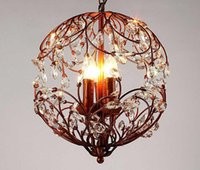 American Retro Crystal Colgante Lámparas Bola 3 Flor Rama Black Hierro Moderno Simple Simple Norte Europeos Iluminación E14 Bulbo