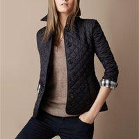 Commercio all'ingrosso- Nuove donne giacca inverno cappotto autunno cappotto di moda cotone slim giacca britannico stile plaid quilting imbottito parka