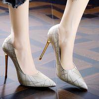 Dress Shoes Est Fashion Women's Pumps High Heels Office Stiletto Ladies Striped Pointed Non-slip Size 40