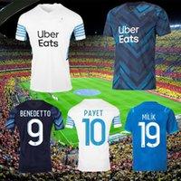 Marselha Jersey Jersey Olympique de 21 22 OM 2021 2022 Mailot Foot Alenia Guendouzi Benedetto Kamara Payet Futebol Camisas Men + Kids Kit