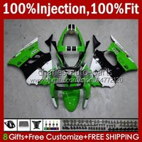Stampo ad iniezione Bodys per Kawasaki Ninja 600CC ZZR600 05 06 07 08 Bodywork 38HC.73 100% Fit ZZR-600 600 CC 05-08 Green Bianco Nuovo ZZR 600 2005 2006 2007 2008 Kit carening OEM