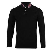 Neue britische stil drei schnalle shirt kreative flagge revers mode einfache business beiläufig langärmeliges t-shirt