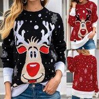Maglioni da donna Maglioni di Natale Temperamento girocollo Top Elk Stampa Elegante Pullover a maniche lunghe Elegante Pullover invernale moda invernale caldo di lana