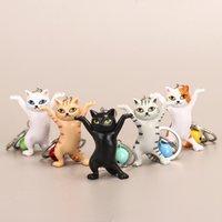 5 colori danza cat keychain cartoon attraente gattino ornamento portachiavi donne borsa pendente divertente design bambini ragazze regalo di compleanno