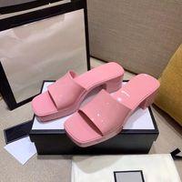 G Schuhe Frau Hausschuhe Mode Strand Dicke Boden Hausschuhe Plattform Alphabet Dame Sandalen Leder High Heel 5,5 cm Rutsche Slipper Gelee Schuhe ZXZ