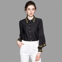 Women's Blouses & Shirts Designer Runway Top Floral Embroidery Black Shirt Womens Tops And Lantern Sleeve Blusas Mujer De Moda 2021 Verano