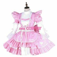 PVC Lockable Sissy Pink boy Maid vinyl mini Dress Romper Tailor-Made for Animation Exhibition Beach Holiday Sexy Party Prom Night Dresses