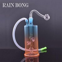 Wholesale Mini Rainbow newest design Glass dab oil rig Bong Thick Pyrex Hookah water Bongs with 10mm glass oil rig bowl and silicone hose
