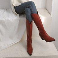 Boots Botas de couro alto bico fino, sapatos femininos inverno com salto grosso e ponteiro C1MQ