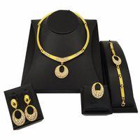 Earrings & Necklace African Nigerian Women's Wedding Jewelry Set Round Pendant Ring Bracelet Bridal Dubai Gold