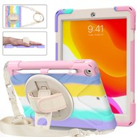 Gradient Silicon PC Full Body Case Shockproof Hybrid Robot Heavy Duty Kids Safe Rugged With Handle Grip Stand Pencil Holder Shoulder Carrying Strap For iPad 7 8 10.2