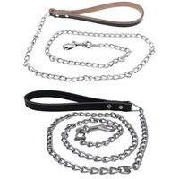 Leather Pet Puppy Dog Leash Iron Chain Walking Running Outdoor Training For Small Medium Large Dogs Collars & Leashes