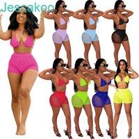 النساء مثير بيكيني 2 قطعة ملابس مجموعة الصيف شاطئ ملابس السباحة شبكة الترتر الصدرية السراويل ملابس السباحة ملهى ليلي حزب الملابس الساخنة 2021