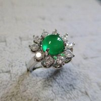 Cluster Rings Creative Diamond Flower Egg Round Opening Adjustable Ring Retro Aristocratic Light Luxury Charm Female Silver Jewelry