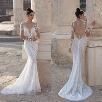 2021 Lace Overskirts Wedding Gowns Sexy Deep V Neck Appliques Mermaid Long Sleeves Country Bridal Dresses Vestidos De Novia
