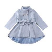 1-5Y Toddler Kid Baby Girl Coat Autumn Winter Warm Windbreaker Bow Outwear Overcoat Raincoat Snowsuit Solid Blue 210910