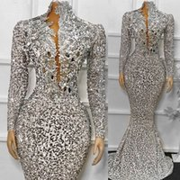 Африканские блестки вечерние платья с длинными рукавами Русалка Женщины Формальное Платье для вечеринки Блеск из бисера Выполненные выпускные платья