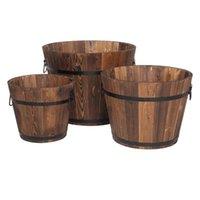 Наружный армированный и антикоррозийный деревянный горшок набор из трех