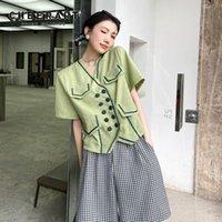 Women's Blouses & Shirts CHEERART Double Breasted Short Sleeve Shirt Women Korean Green Top V Neck Summer Blouse 2021 Fashion Clothing