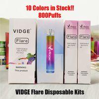 Vidge Flare E-Sigaralar Tek Kullanımlık Pod RGB Işık Cihazı 800 Puffs 500 mAh Pil 3 ml Tedbir Kartuş Vape Kalem 100% Hakiki VS Bar Mini XXL