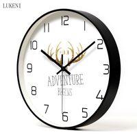Bianchi bianchi nero elegante orologio in metallo soggiorno / camera da letto / sala da pranzo decorazioni da parete 210414