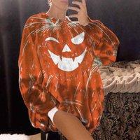 Women's Hoodies & Sweatshirts Women Long Sleeve O-neck Tops Pumpkin Halloween Printed Loose Sweatshirt Blouse Fashion Clothes Top Moletom Bt