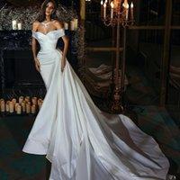 Elegant Satin Mermaid Wedding Dresses with Over Skirt Beading Pleat Bridal Gowns vestido de novia Second Reception Dress