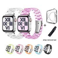 Watchband Watch Strap Bands الفاخرة ل Apple IWatch Series 6/5/4/3/2/1 مع أداة إصلاح حالة واقية