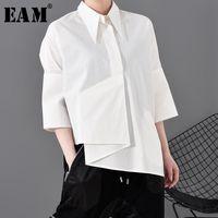 Camisas Blusas de Mujeres [EAM] Mujeres Blusa asimétrica blanca Blusa Blusa Solapa de tres cuartos de manga de tres cuartos Forma de ajuste de la moda Primavera Otoño 202