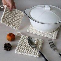 Tappetini tappetini intrecciati in cotone corda in cotone piastra di isolamento tappetino giapponese stile quadrato a casa maglia placemat spesso tavola decorazione doppia A4F5