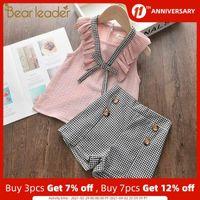 Bear Leader Girls Bowtie Ropa Sets 2021 New Summer Kids Girl Outfits Top y Plaid Pants Ropa 2pcs Trajes Niños Conjuntos C0401