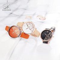 Wristwatches Shengke Women Watches Fashion Ladies Watch Girls Gift Black Leather Wristwatch SK Quartz Relogio Feminino