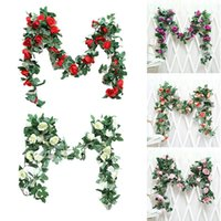 Decorative Flowers & Wreaths Simulated Rose Vine Green Leaf Garland Hanging Ornament Suitable For Wedding Party Garden Decoration E2S