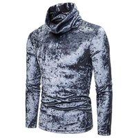 가을 겨울 남자 벨벳 터틀넥 긴 소매 티셔츠 남자 따뜻한 빈티지 캐주얼 티셔츠 벨벳 의류 드롭 남자의 티셔츠