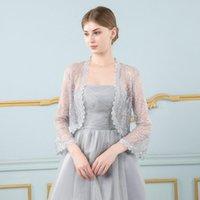 Wraps & Jackets Elegant Lace Jacket Women Bridal Female Wedding Party Ladies Long Sleeve Bolero Out Coats