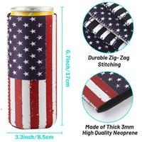 Drinkware Handle 12oz Slim Beer Can Sleeves Neoprene Cooler Covers Fit For 330ml Energy Cans Holder Case Bags OWE7564