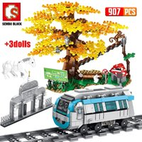 SEMBO City Train Rail Subway Station Building Blocks technical Car Tracks Railway Zoo Tree Bricks DIY Toys for Children
