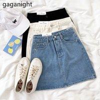 Summer Summer Solid Black Blue Jeans Gonna Casual Vita alta Denim S Denim S Signore All-abbinata Mini A-Line 210426