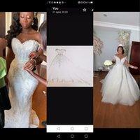 2021 Сексуальное шаровое платье свадебные платья плюс размер прозрачные кружевные аппликации с длинными рукавами русалка свадьбы платье издевалки съемные юбки свадебные платья