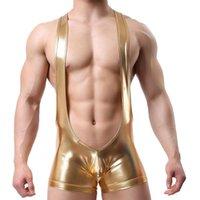 Underpants Men Faux Leather PU Sexy Undershirt Jockstrap Wrestling Singlet Boxers Jumpsuit Suspender Underwear Straps Bodysuit Leotard