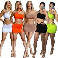 5 colores Mujeres Dos piezas Vestido 2021 Verano Diseñador Moda Sexy Off Hombro Simple Sin mangas Cultivo Top Mini Skirt Trajes Clubwear