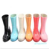 Rain Boots Ladies Solid Candy Color Slip On Rubber Flat Heels Waterproof Charm Rainboots 2016 New Fashion Design Candy Solid