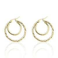Hoop & Huggie Fashion Stainless Steel Jewelry Double Circle Twisted Wire Earrings Women's Party Wedding Love Gift Wholesale
