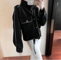 Women's jacket autumn and winter new retro hit color cardigan shirt short woolen blazer long-sleeved jacket coat hlkklj