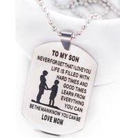 Jóias da família para meu filho gravado criança mãe amava família tag gola mãe aço inoxidável colar