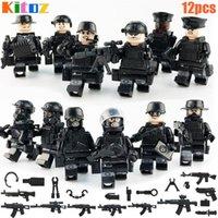 12 adet Swat Mini Oyuncak Action Figure Özel Kuvvetler Polis Polis Askeri Set Silah Ile Yapı Taşları Tuğla Oyuncak Çocuk Çocuklar için